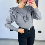 Pull rouches grey